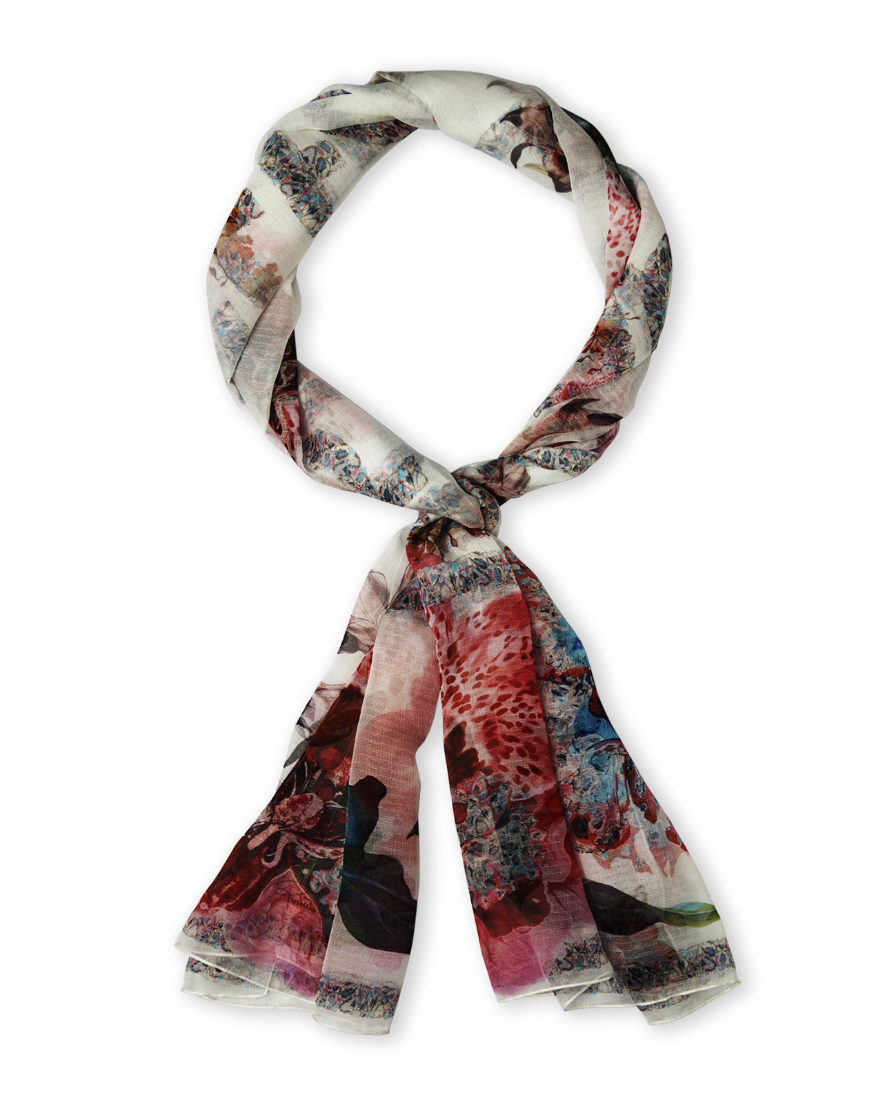 roberto cavalli contrast print silk scarf in multicolor