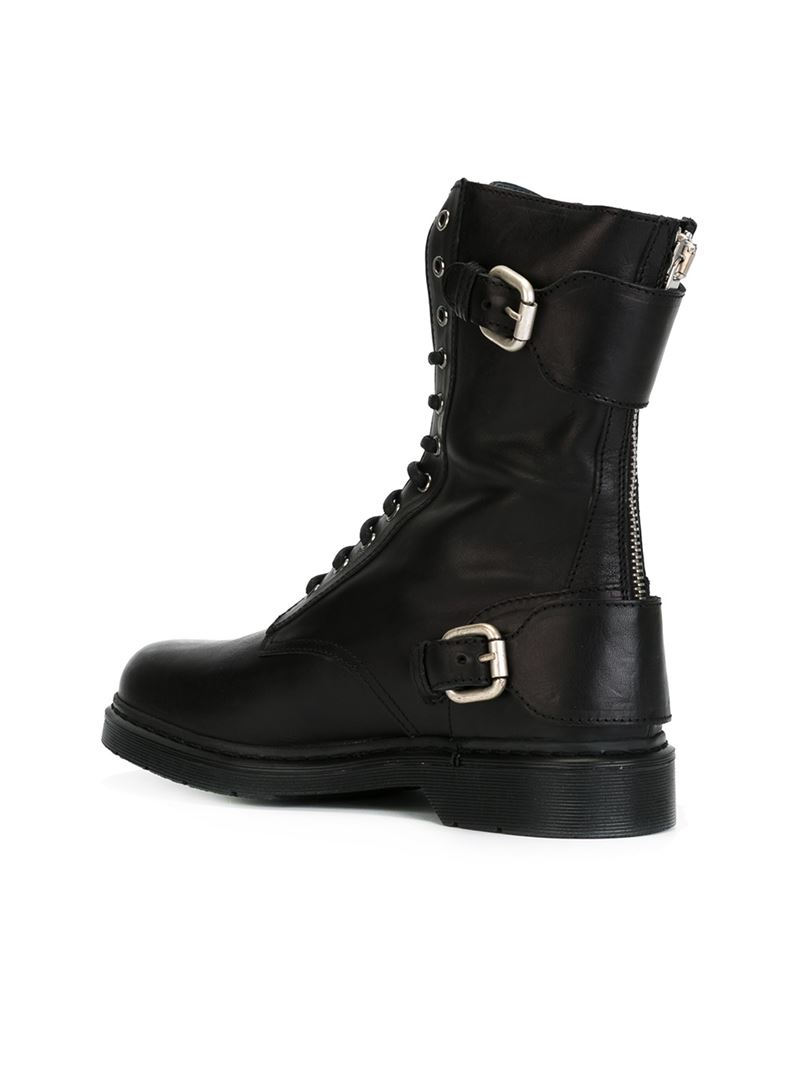 diesel black gold boots in black for lyst