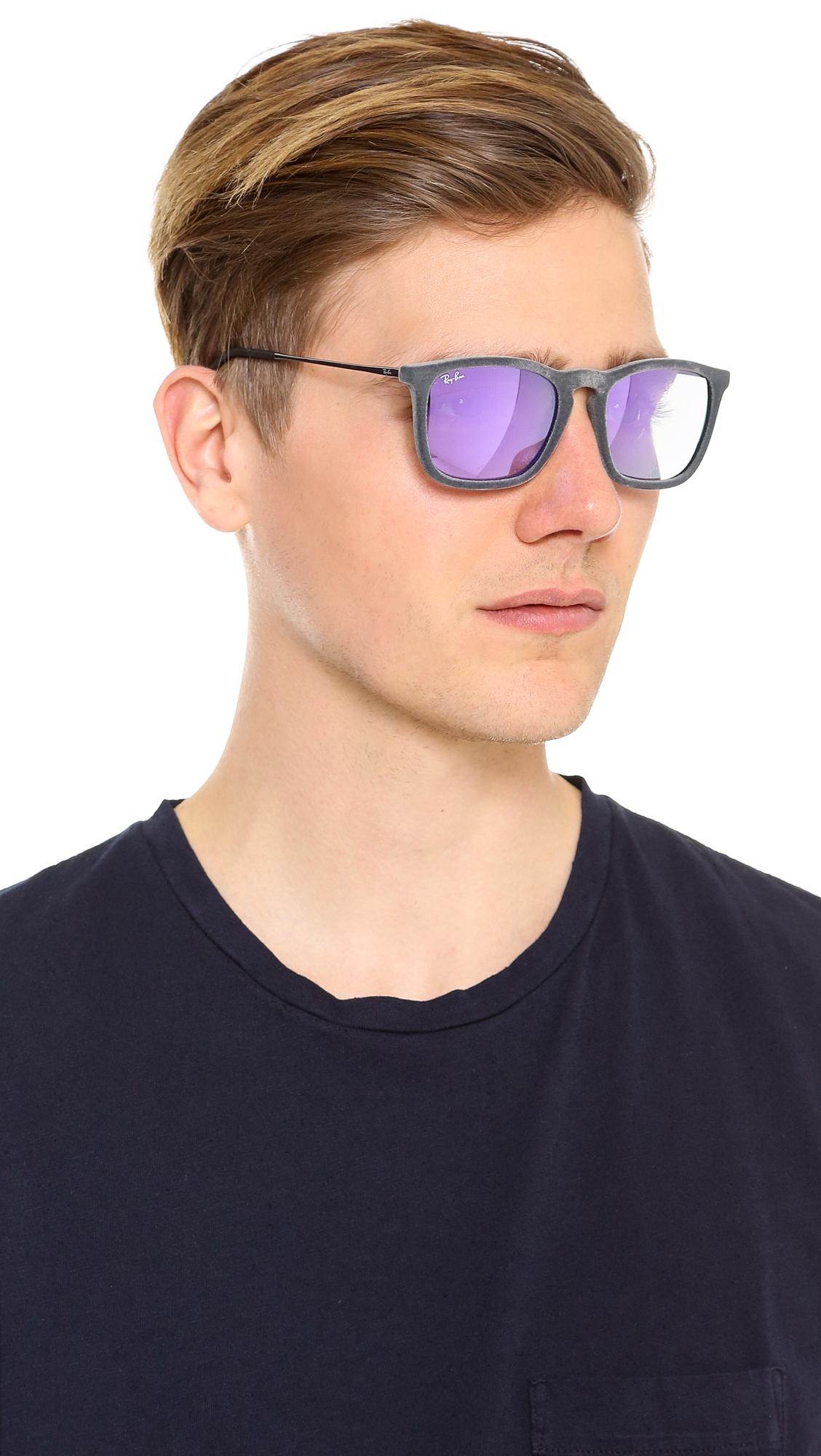 Ray Ban Velvet Mirrored Sunglasses In Purple For Men Lyst