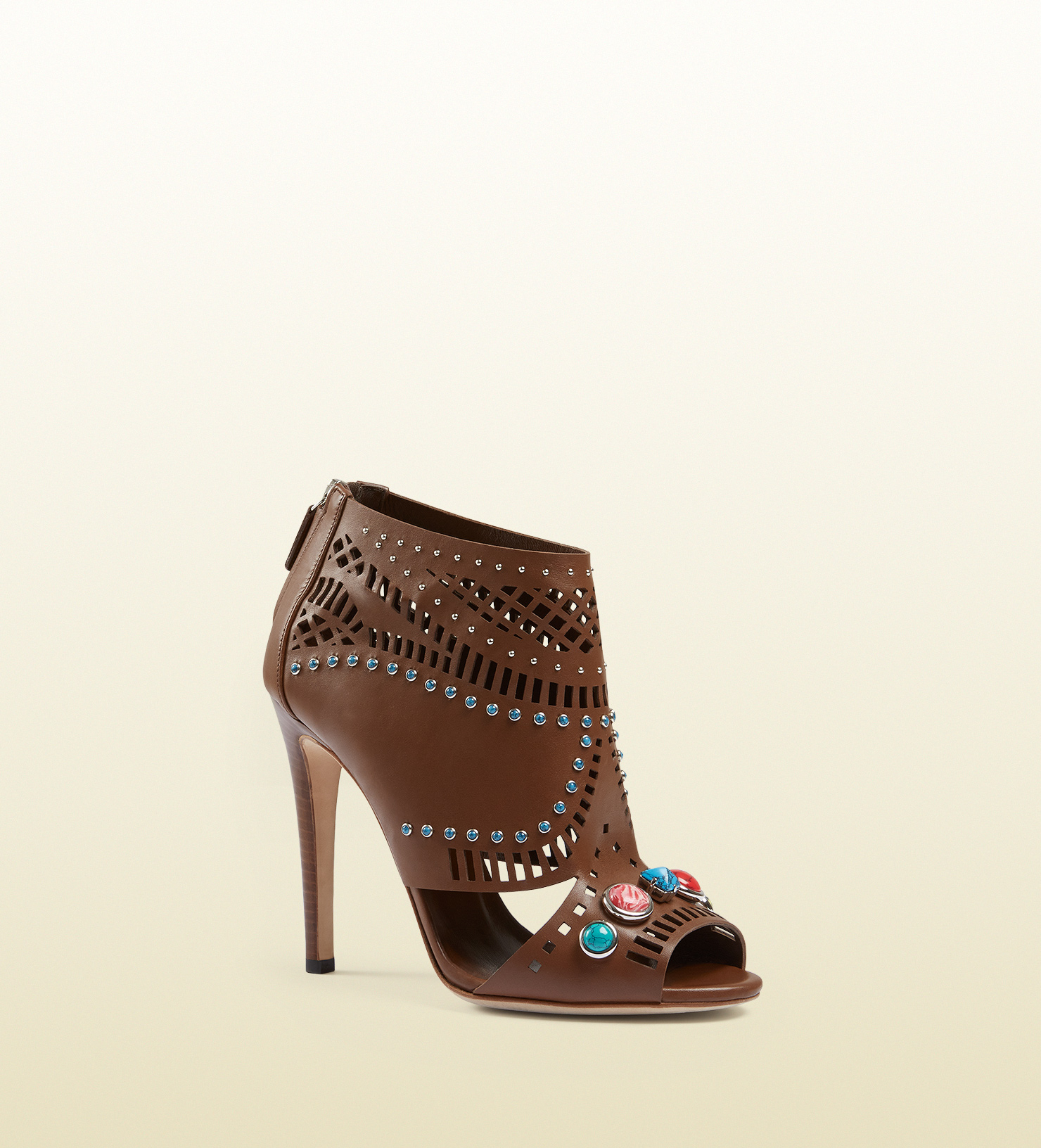 beac044e16b Gucci Lika Laser-cut Leather Ankle Boot in Brown - Lyst