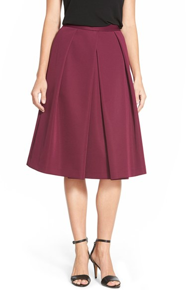 Vince camuto Pleat Front A-line Midi Skirt in Purple | Lyst