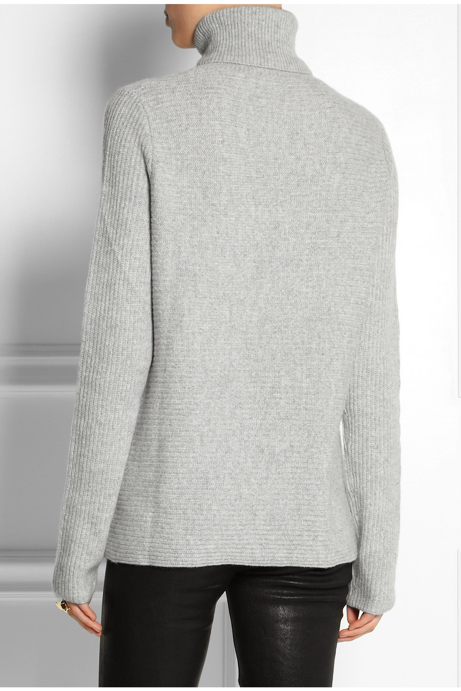 Banjo & matilda Ribbed Cashmere Turtleneck Sweater in Gray | Lyst