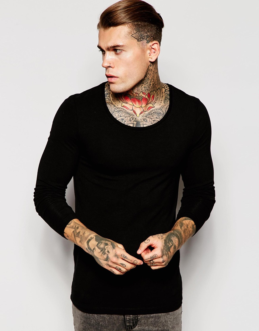 Asos extreme muscle long sleeve t shirt with scoop neck in for Scoop neck long sleeve shirt