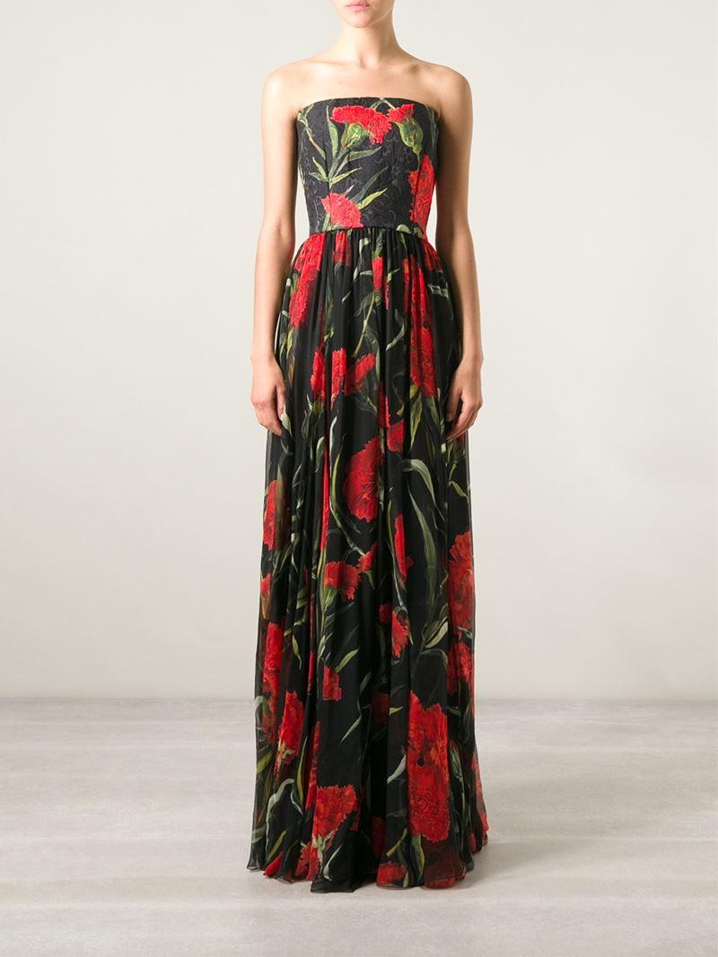 Dolce & Gabbana Carnation-Print Brocade Dress in Black