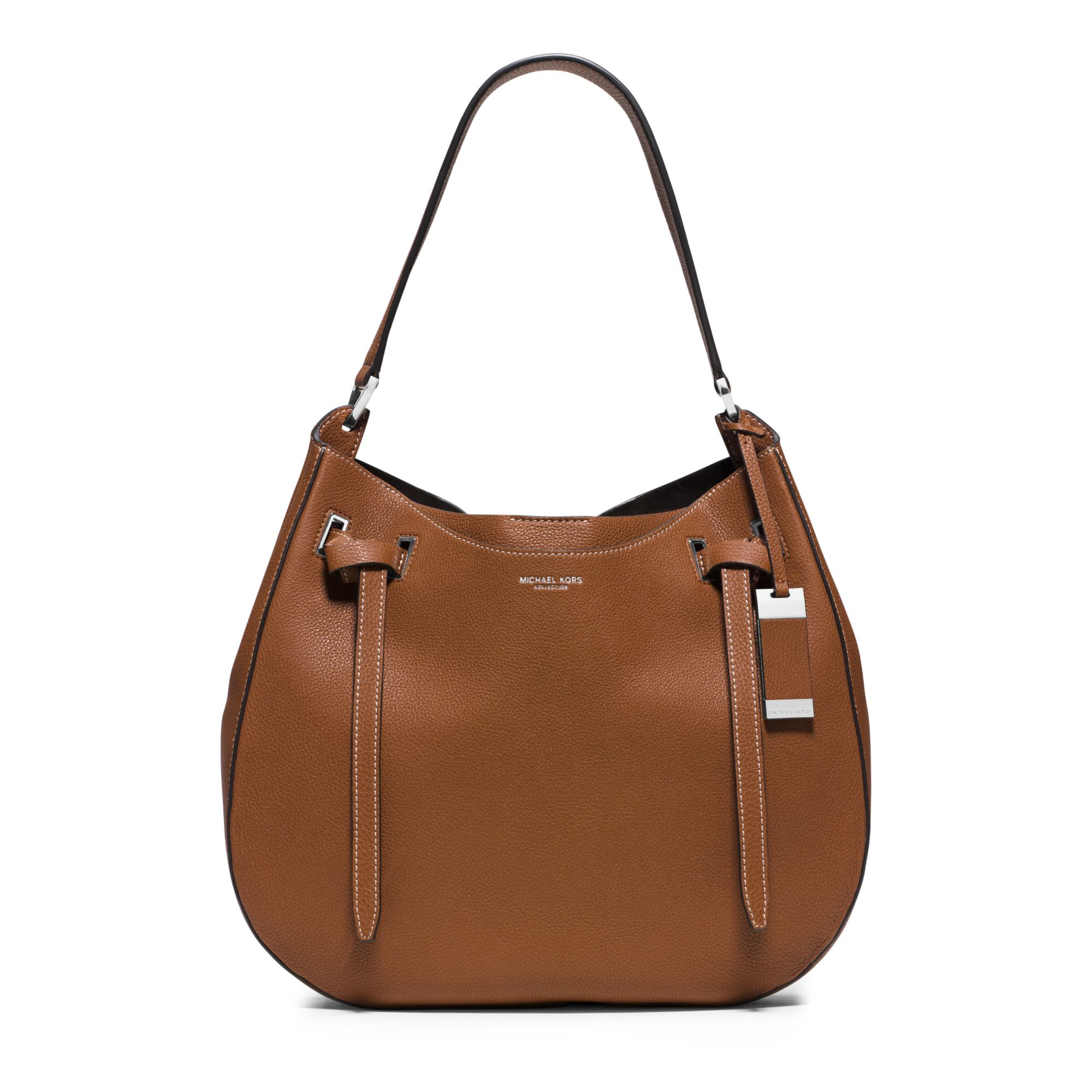 Michael kors Rogers Large Leather Shoulder Bag in Brown | Lyst