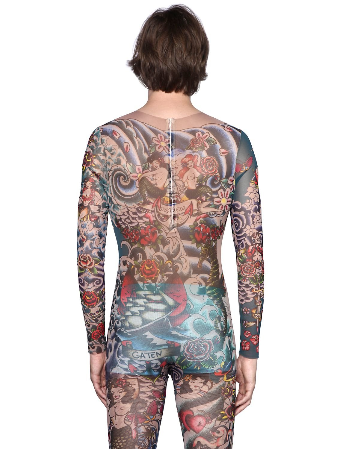Lyst dsquared tattoo printed sheer tulle jumpsuit for men for Tattoo shirts long sleeve