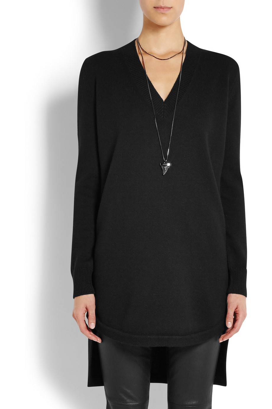 givenchy sweater in black cashmere with neoprene detail lyst. Black Bedroom Furniture Sets. Home Design Ideas