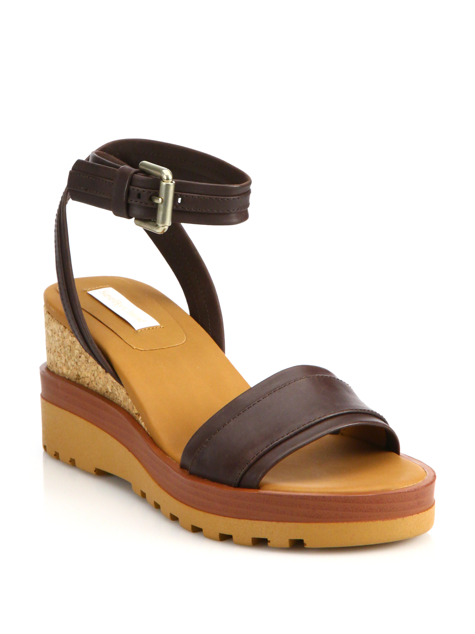 see by chlo 233 bretone leather cork wedge sandals in brown