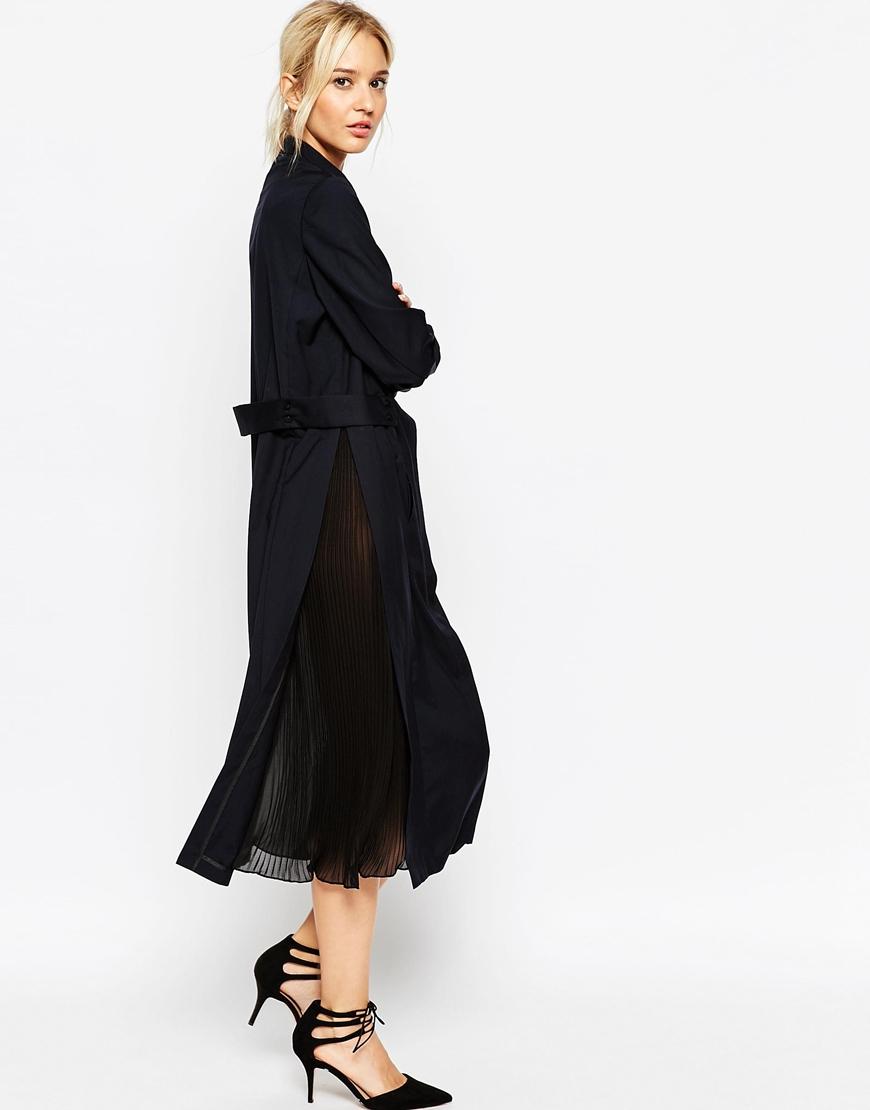 Lyst asos midi shirt dress with pleat insert in black for Midi shirt dress black