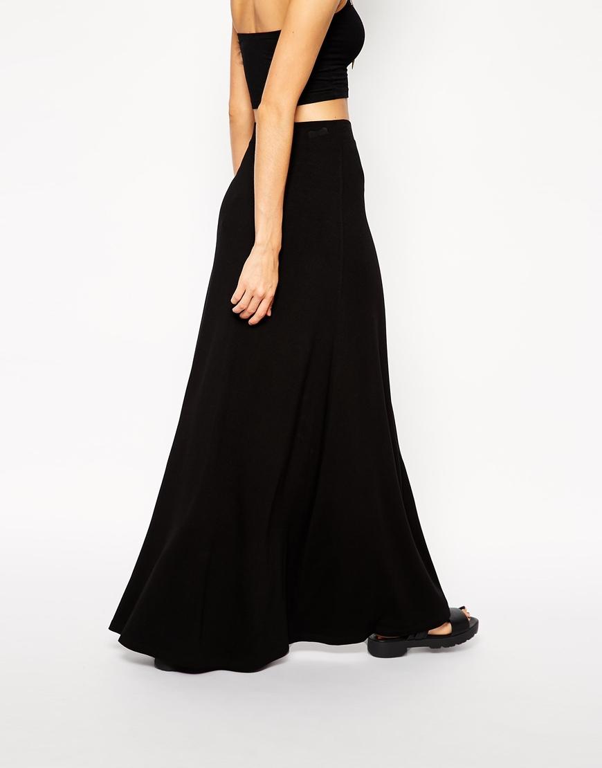 asos front split maxi skirt in black lyst