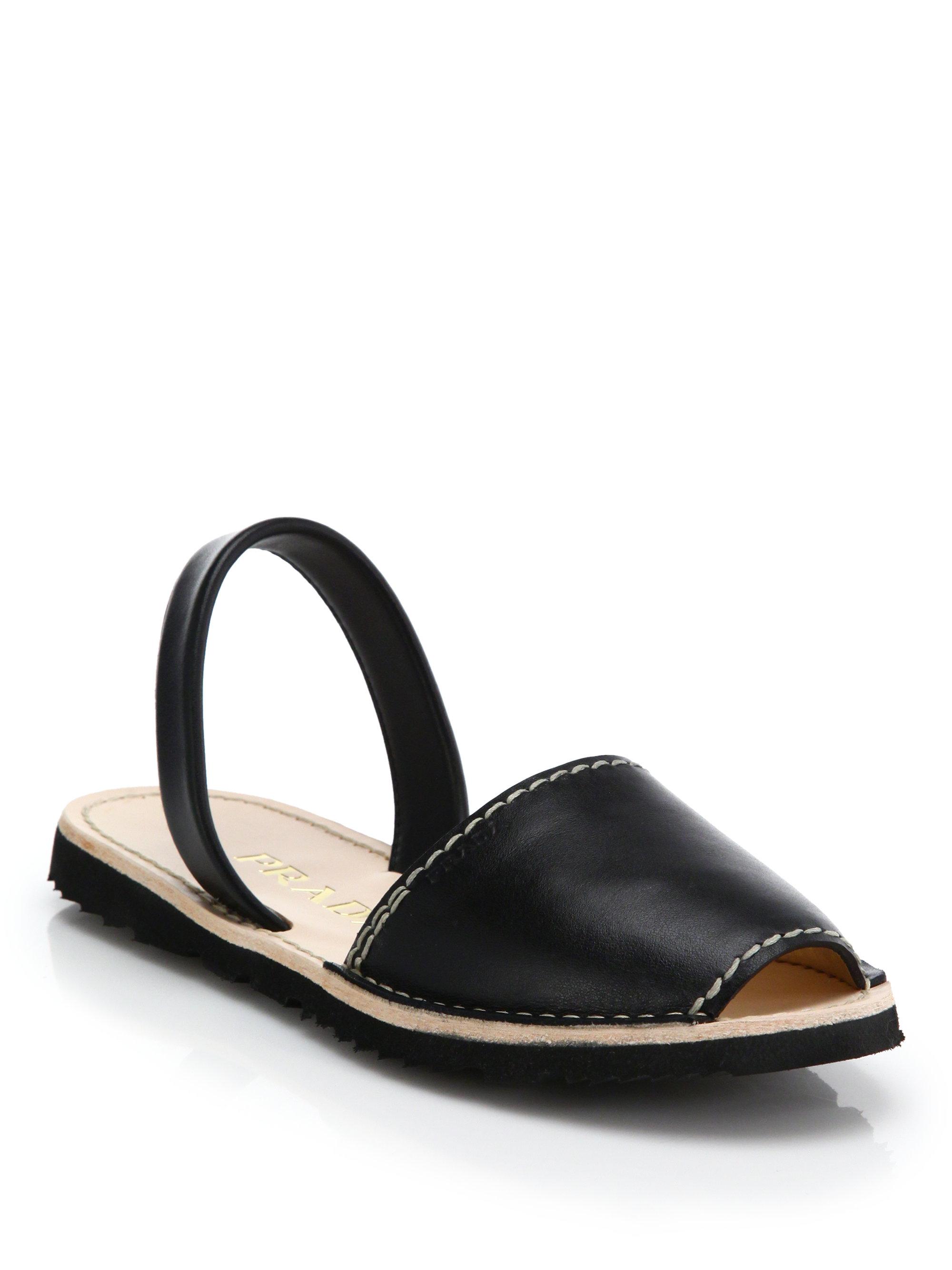 Prada Flat Leather Slingback Sandals in