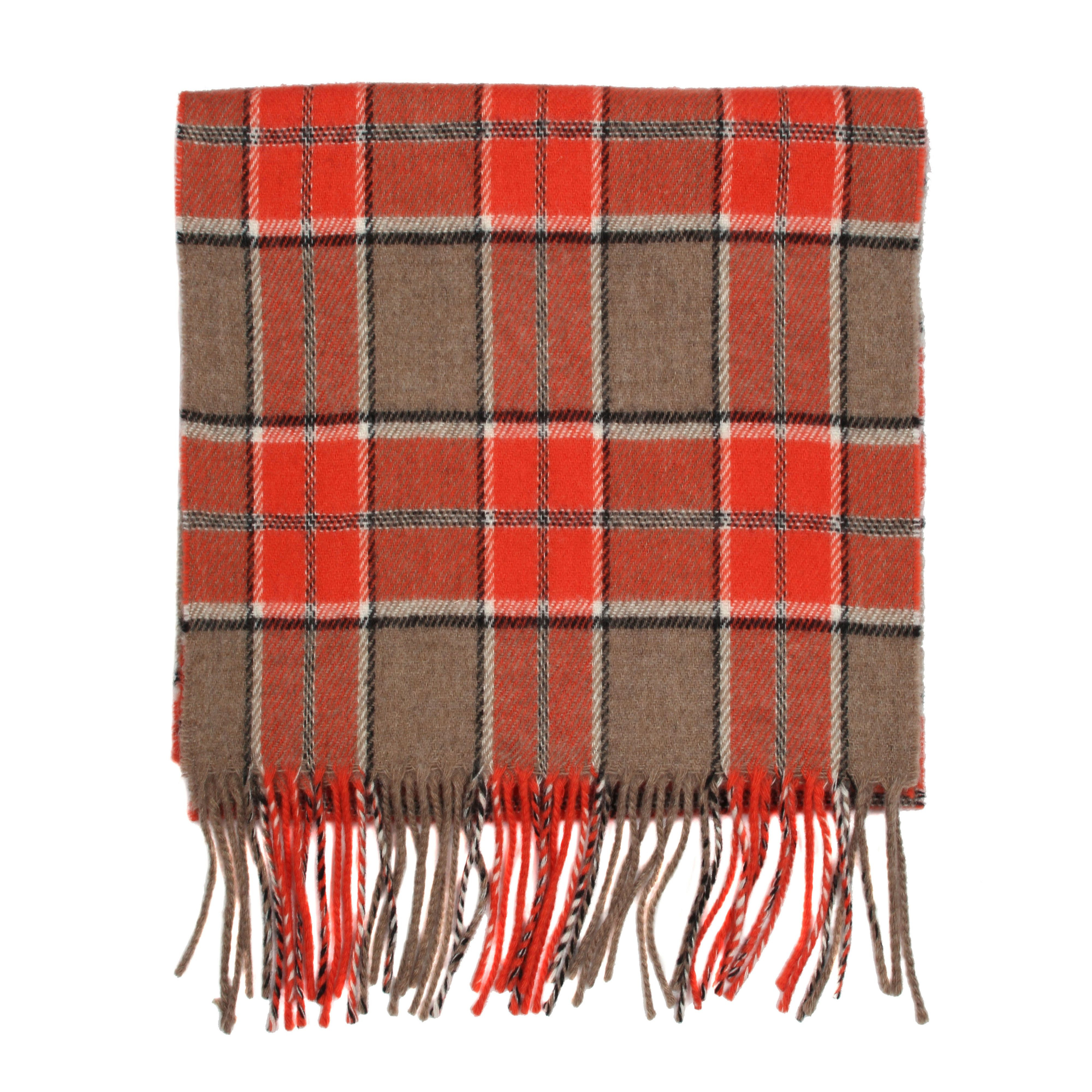 dents mens check scarf in orange for lyst