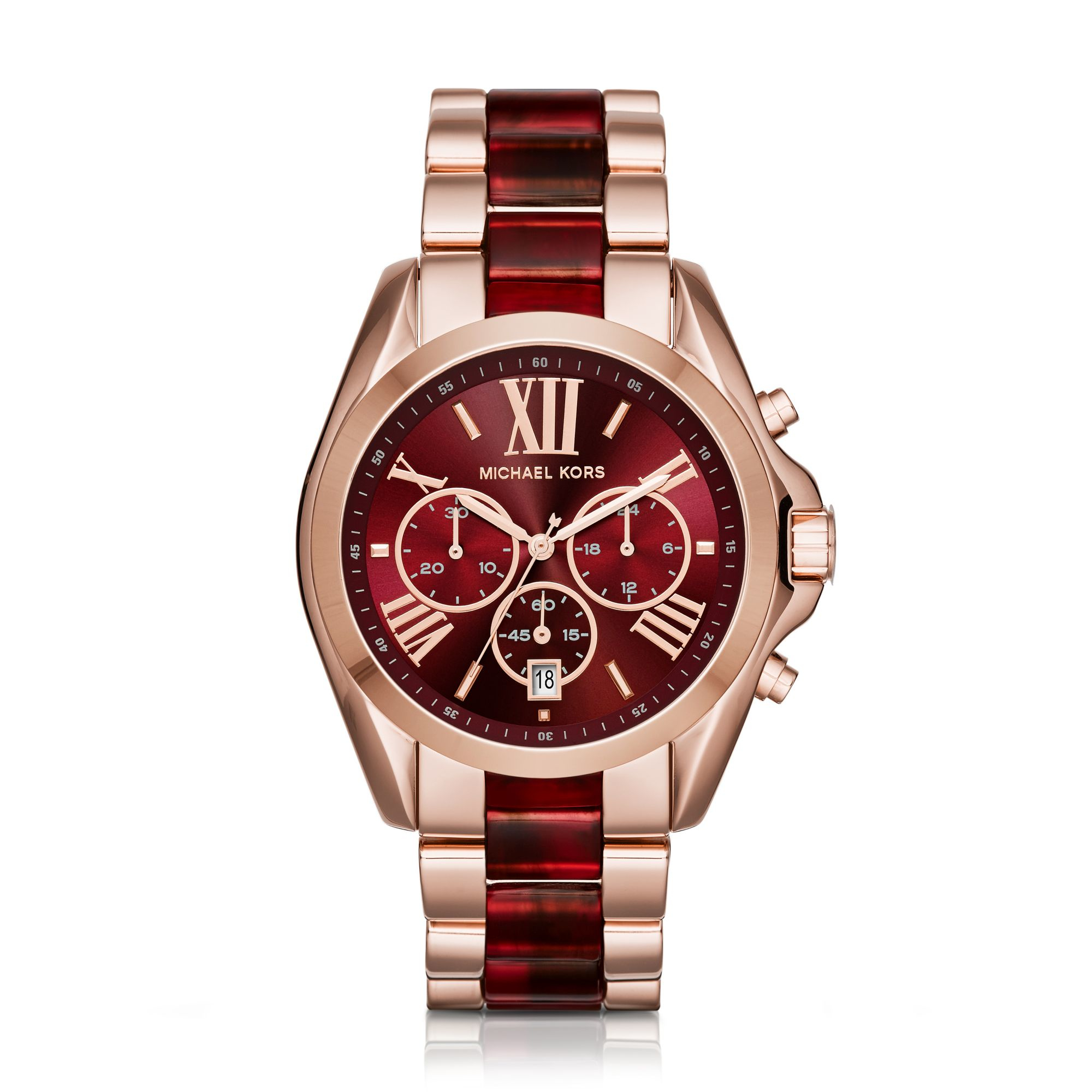 af2b825bd83c Lyst - Michael Kors Oversize Bradshaw Rose Gold-tone And Burgundy ...
