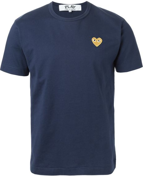 Play Comme Des Gar Ons Blue Embroidered Heart T Shirt