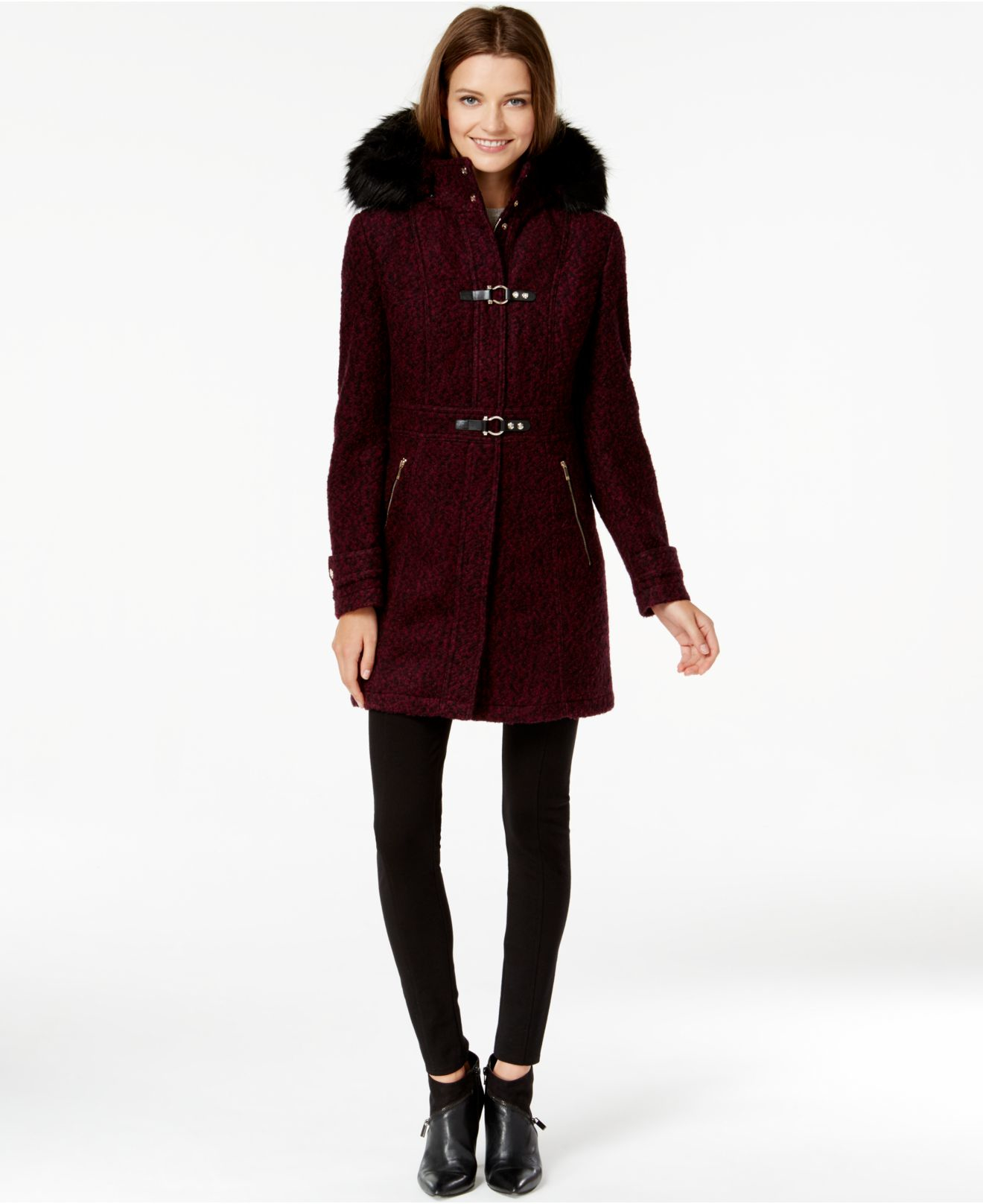 Ivanka trump Faux-fur-trim Buckled Bouclé Coat in Purple | Lyst