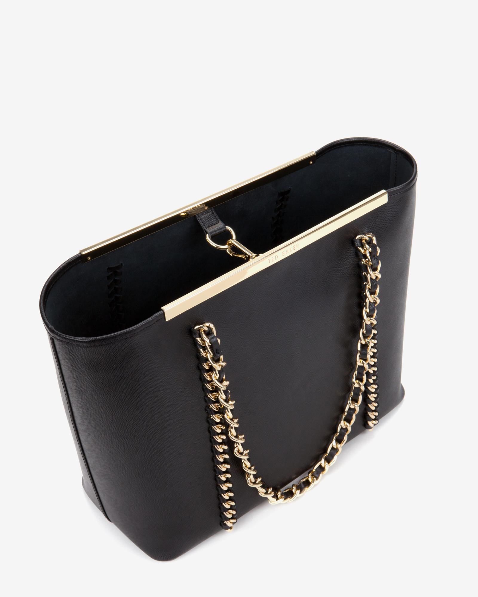 60314544023f4e Ted Baker Metal Chain Shopper Bag in Black - Lyst