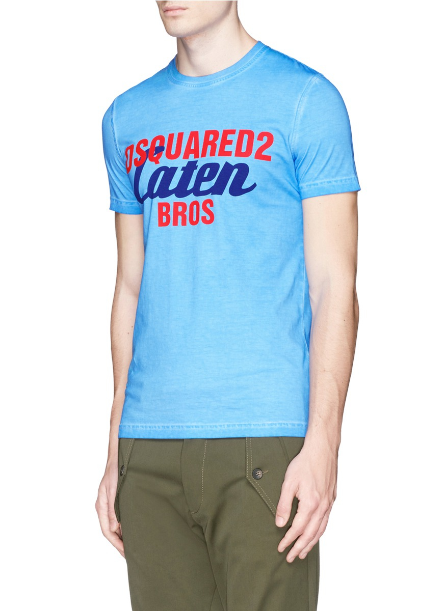 dsquared 39 caten bros 39 print t shirt in blue for men lyst. Black Bedroom Furniture Sets. Home Design Ideas