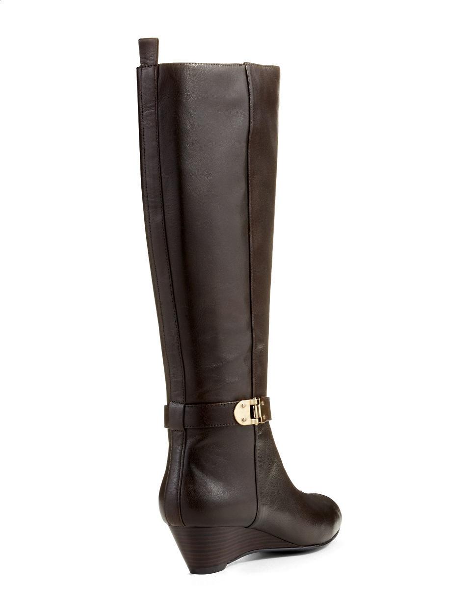bandolino adanna wide calf metallic accented boots in