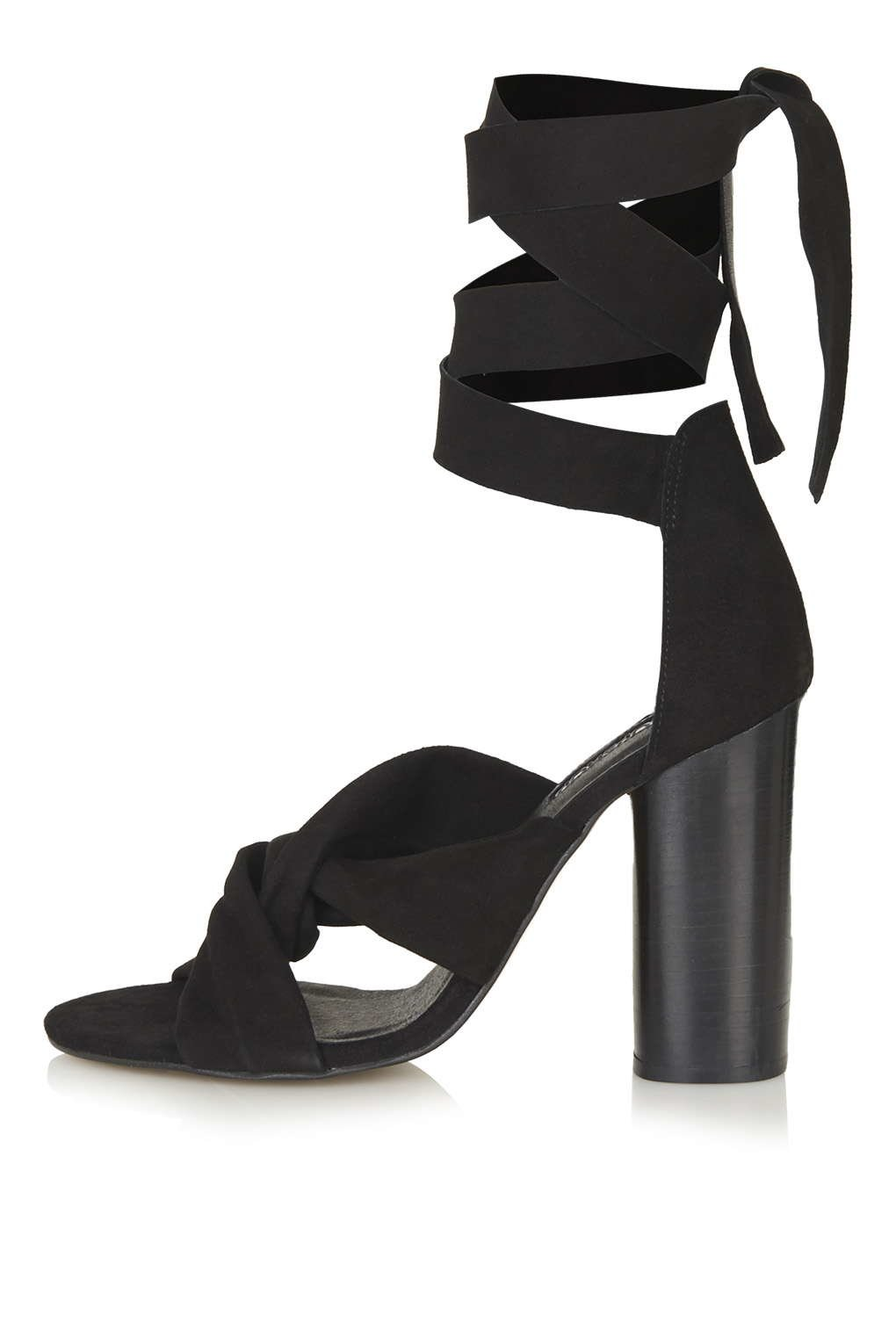 Lyst Topshop Rosa Suede Knot High Sandals In Black