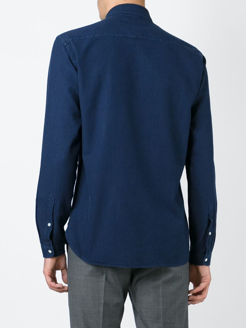 Lyst oliver spencer round collar shirt in blue for men for Round collar shirt men