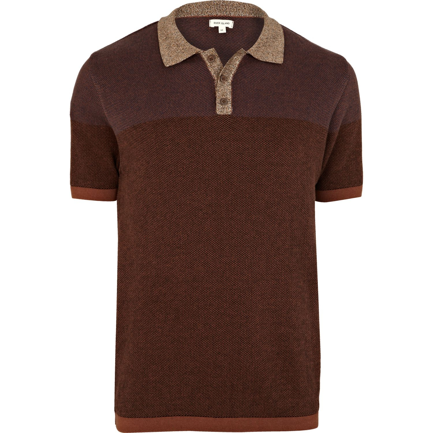River island brown color block pattern knitted polo shirt for Polo color block shirt