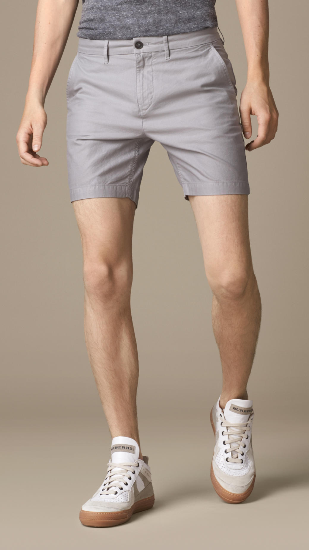 Burberry Cotton Ottoman Slim Shorts in Gray for Men | Lyst