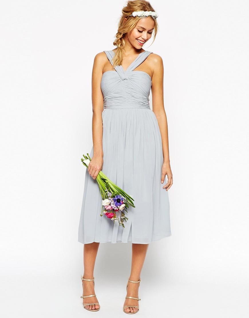 Asos wedding midi dress with halter neck detail in blue lyst for Wedding dress with blue detail