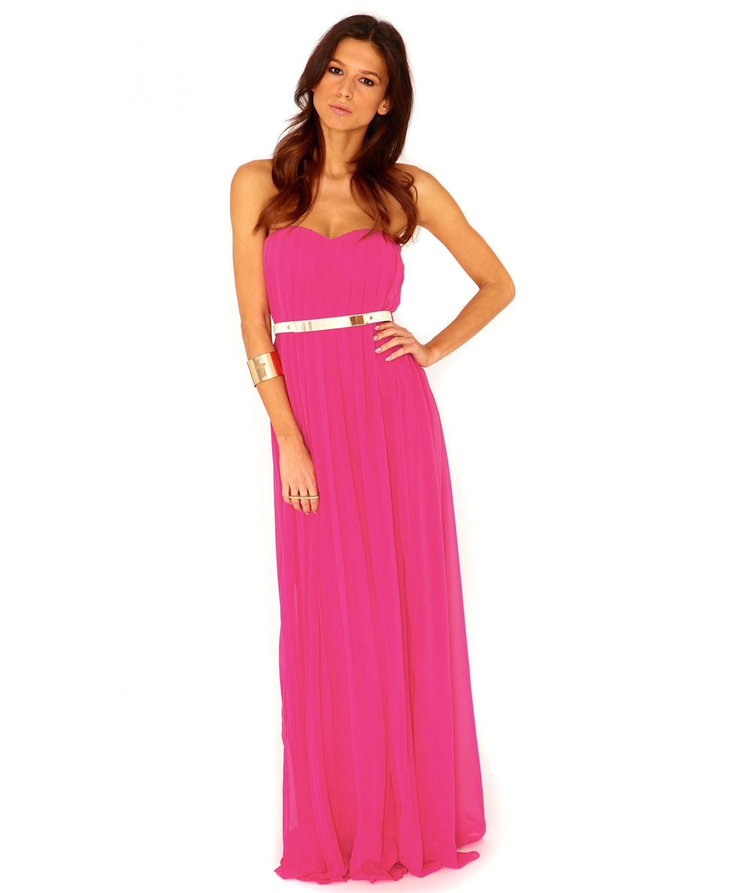 Lyst - Missguided Abelone Pleated Bandeau Maxi Dress in Fuchsia in Pink