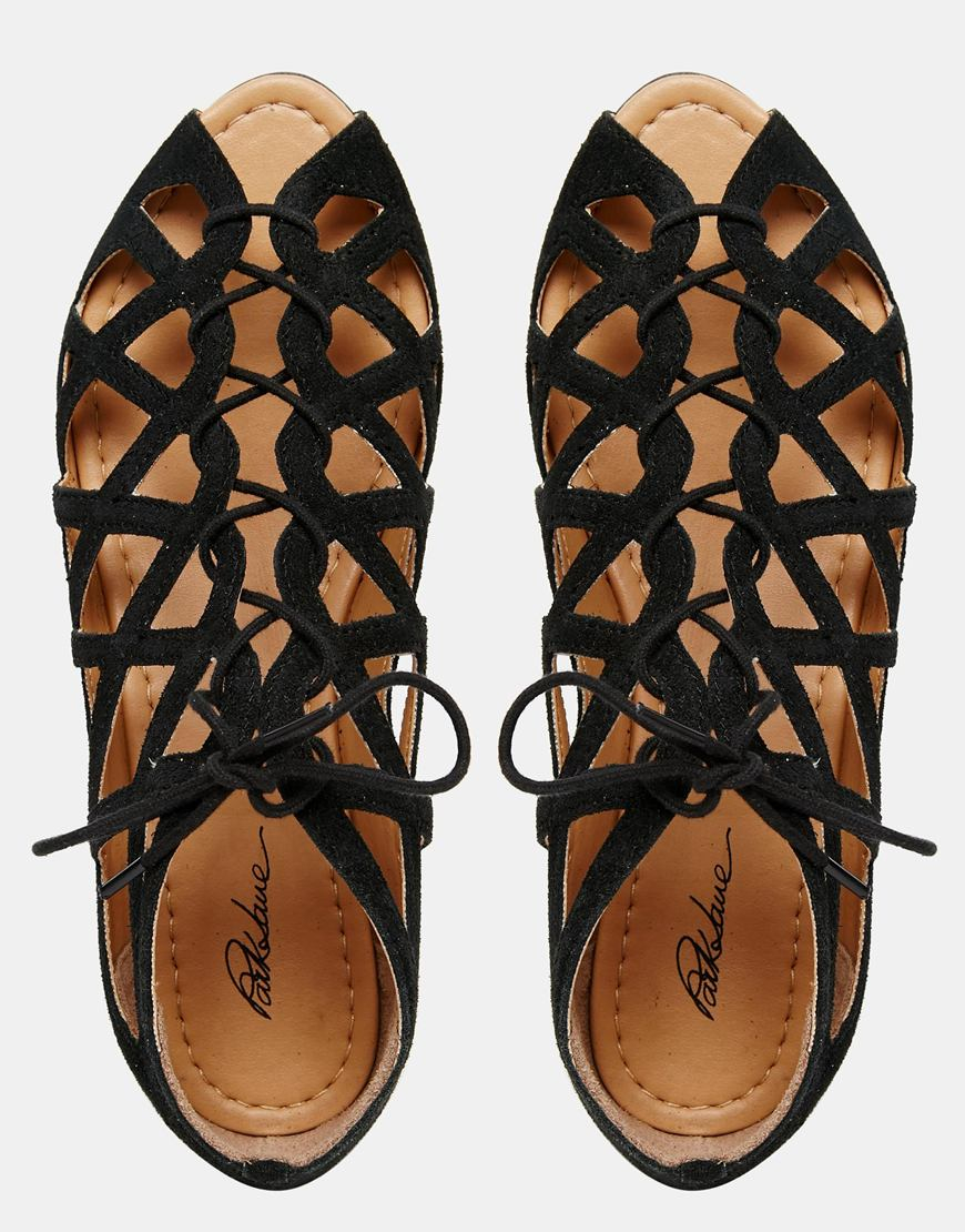 45614ce2311 Lyst - Park Lane Cut Out Gladiator Leather Flat Sandals - Black Suede in  Black