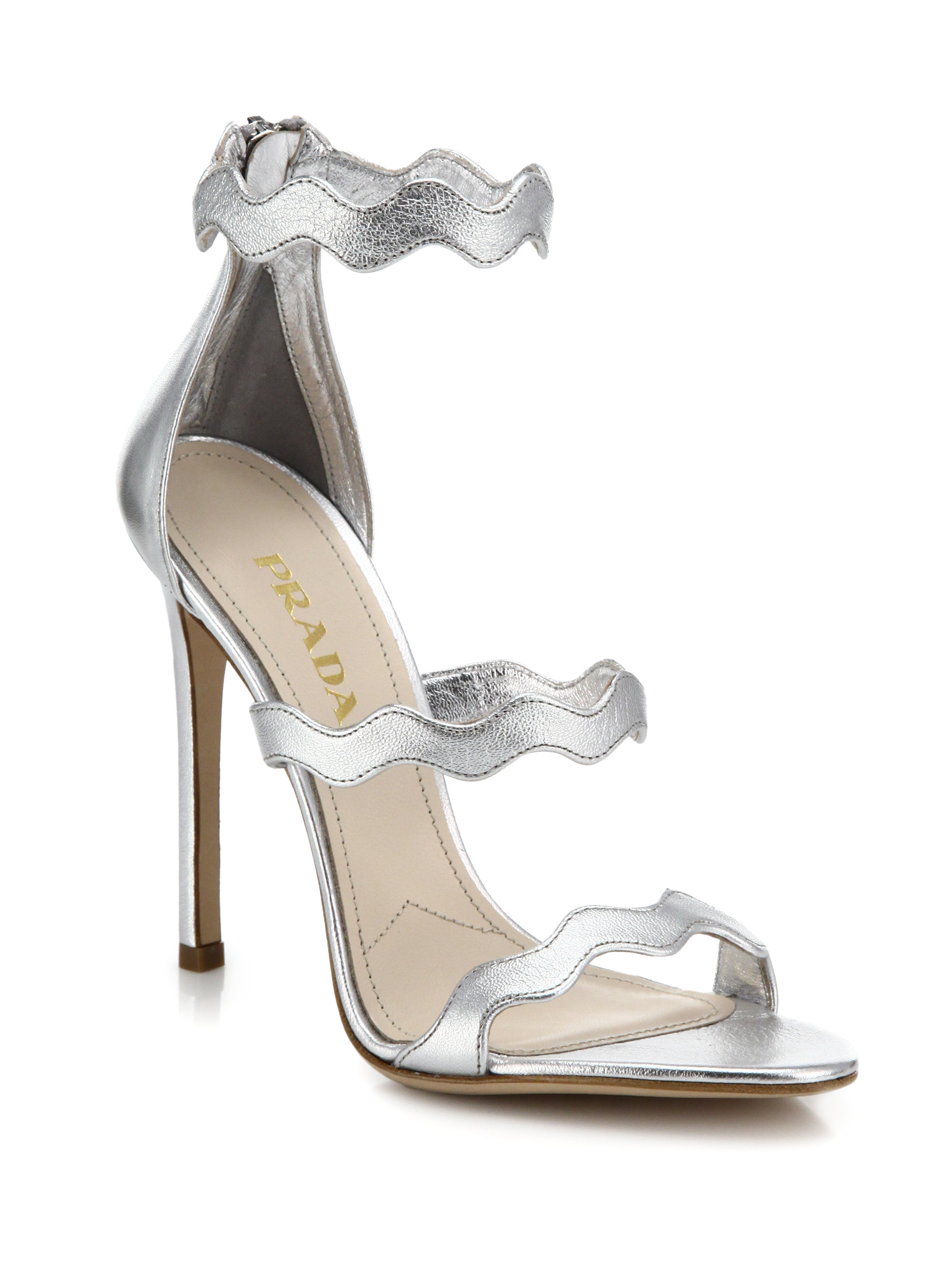 a9b56b62022fc Prada Scalloped Metallic Leather Sandals in Metallic - Lyst