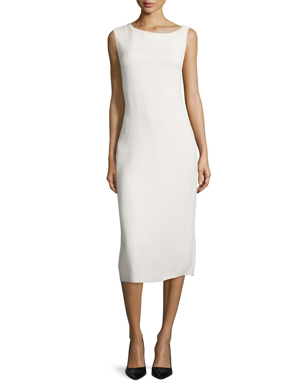 Nina Ricci Sleeveless Asymmetric Neck Bias Cut Dress In