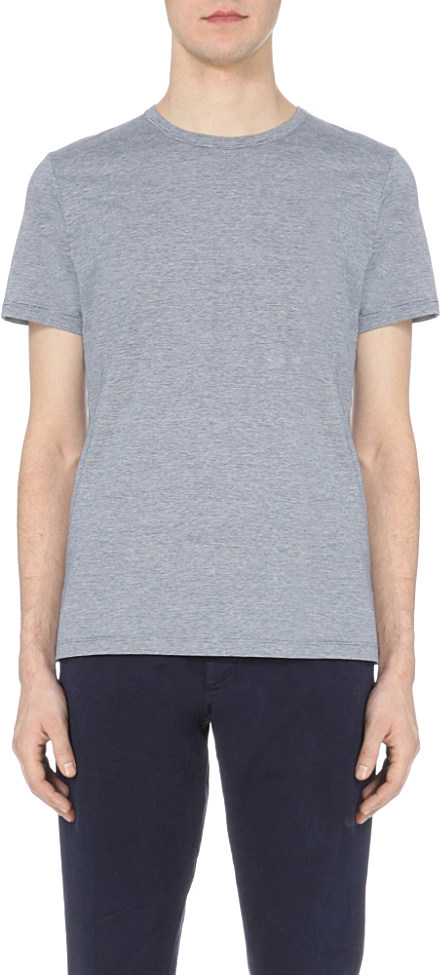 A p c jeremie striped pattern cotton t shirt in gray for for Apc white t shirt