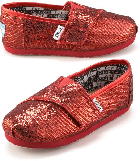 Toms Red Glitter Shoe Tiny In Red For Men Tiny Lyst