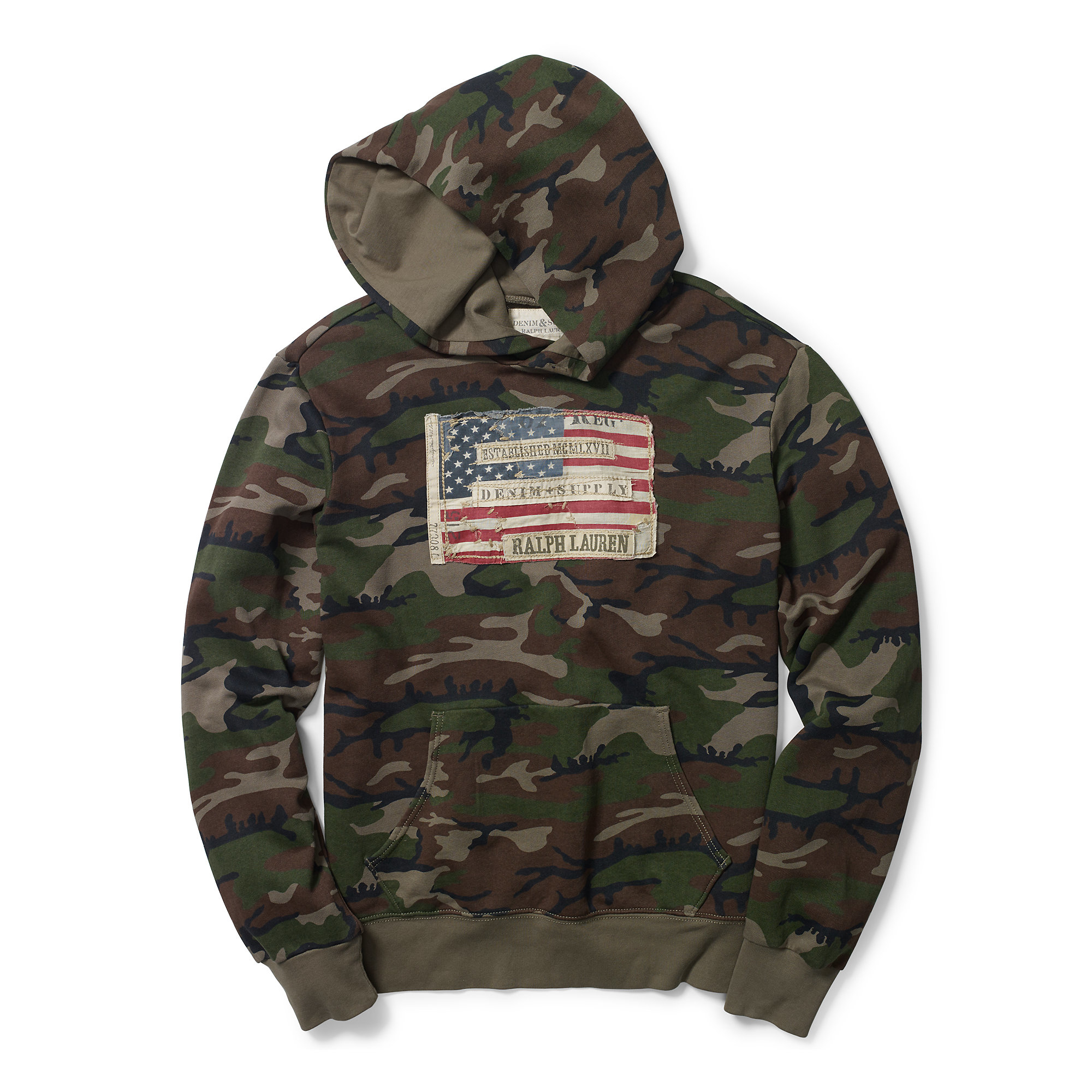 Denim Amp Supply Ralph Lauren Flag Patch Camo Cotton Hoodie