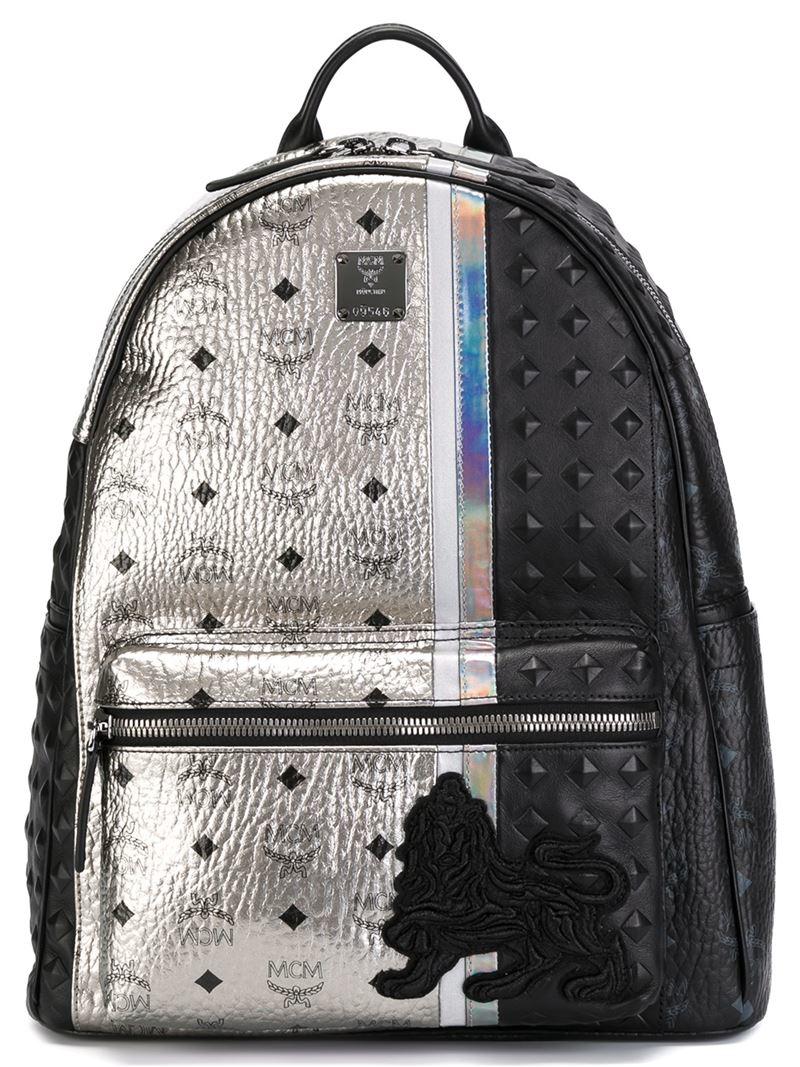 mcm medium 39 munich lion 39 backpack in black lyst. Black Bedroom Furniture Sets. Home Design Ideas