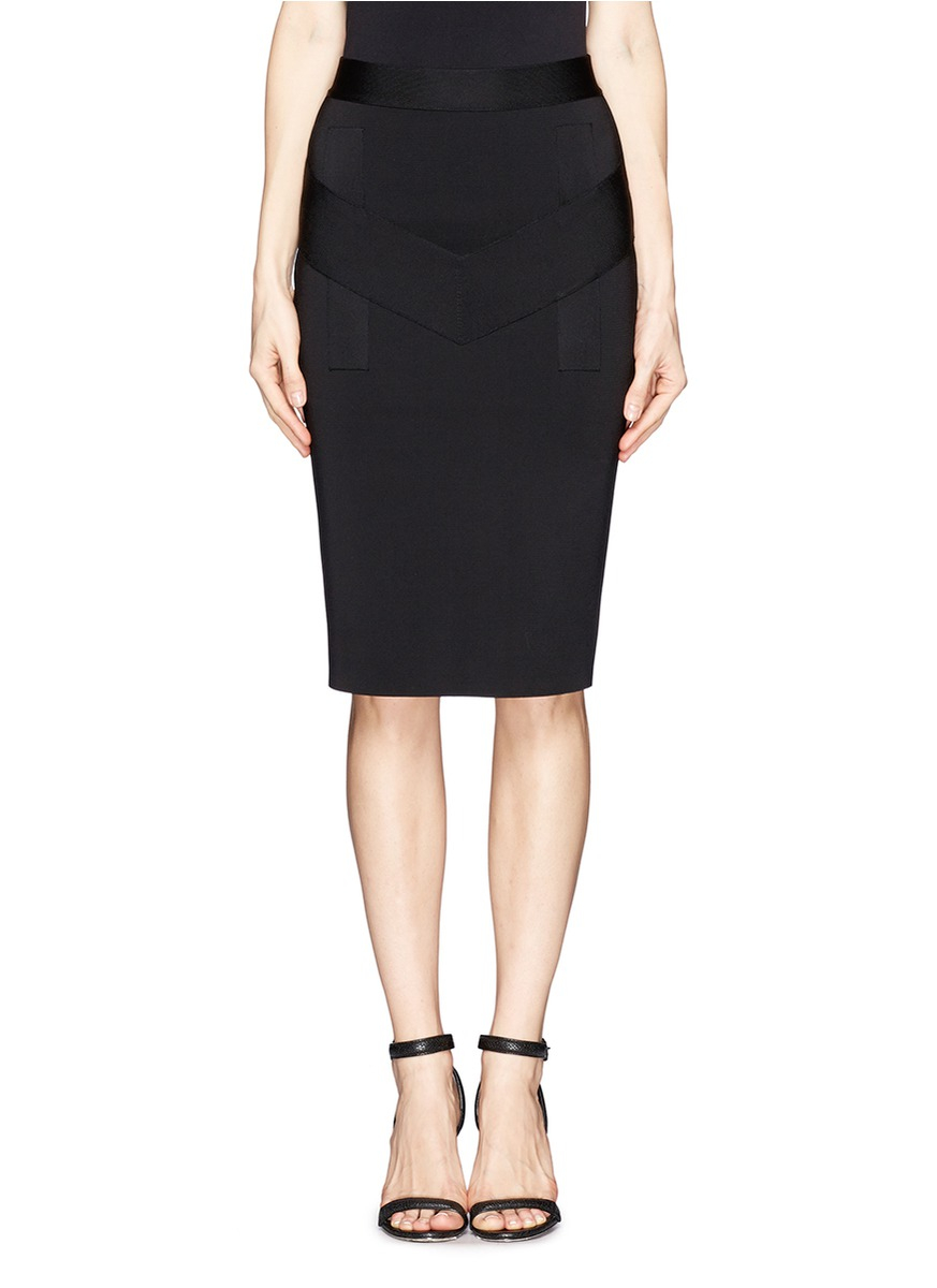 givenchy jupe ribbed jersey pencil skirt in black lyst