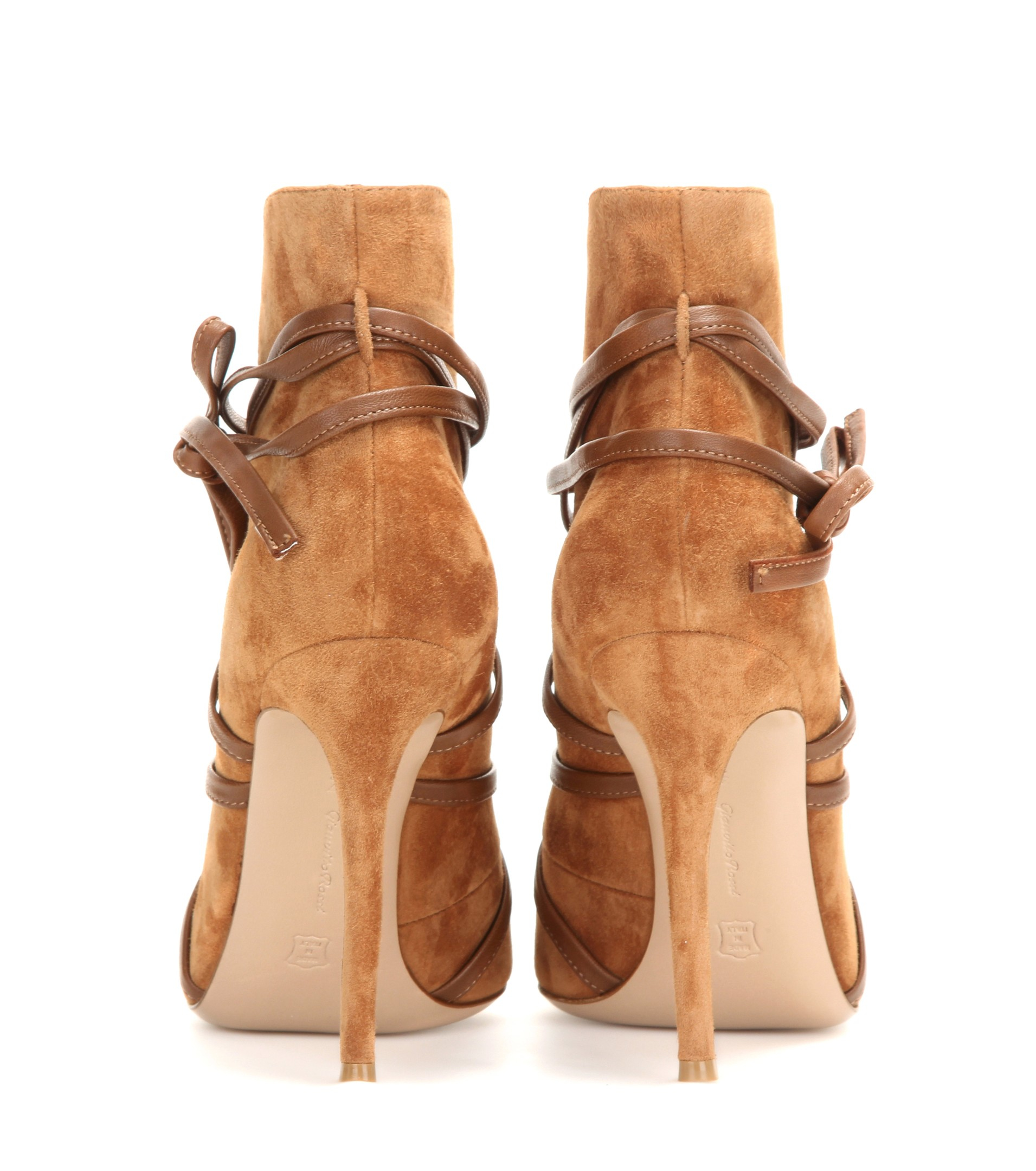 Gianvito Rossi Peep-Toe Suede Ankle Booties free shipping view buy cheap genuine 12xiMa5nHn