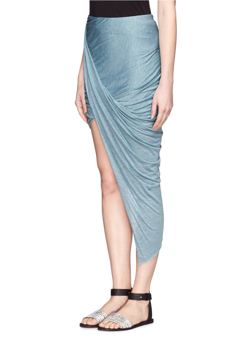 8caaf1bdcb Helmut Lang Kinetic Jersey Asymmetrical Wrap Skirt in Blue - Lyst