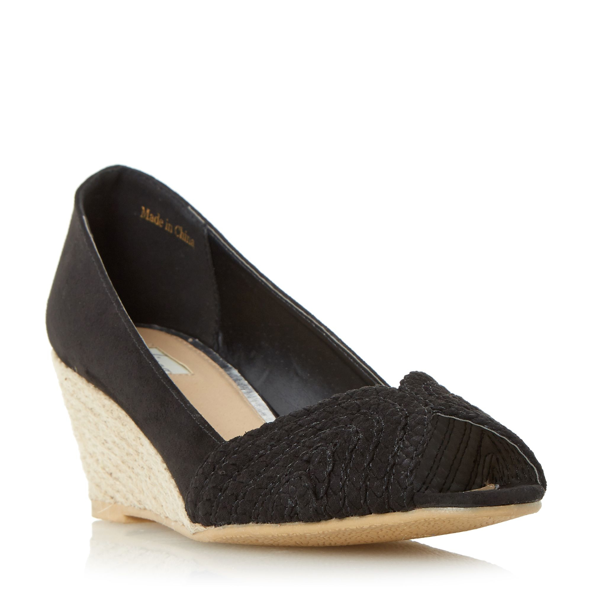linea currio peep toe espadrille wedge shoes in black