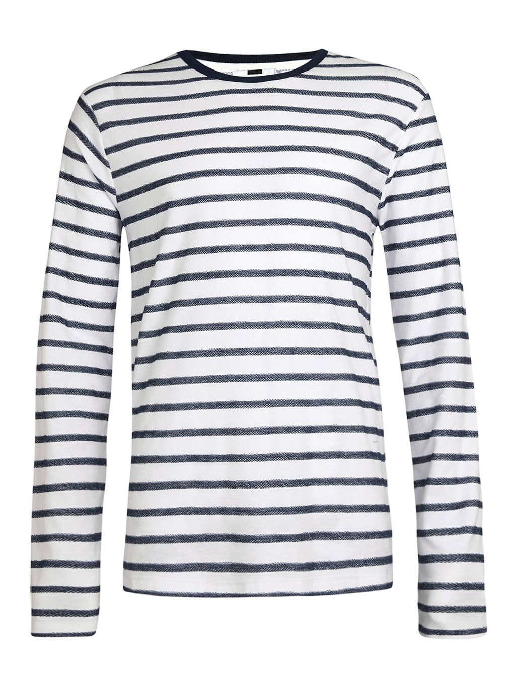 Topman navy white striped long sleeve ringer t shirt in Mens long sleeve white t shirt