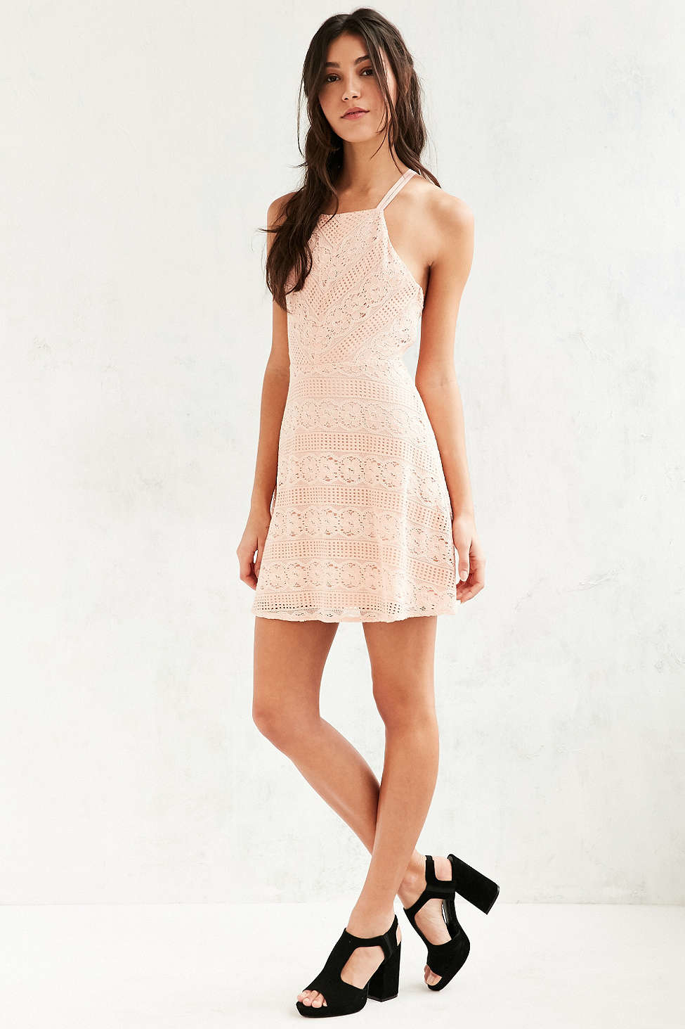 Kimchi Blue Linear Lace Fit Flare Dress In Pink Lyst