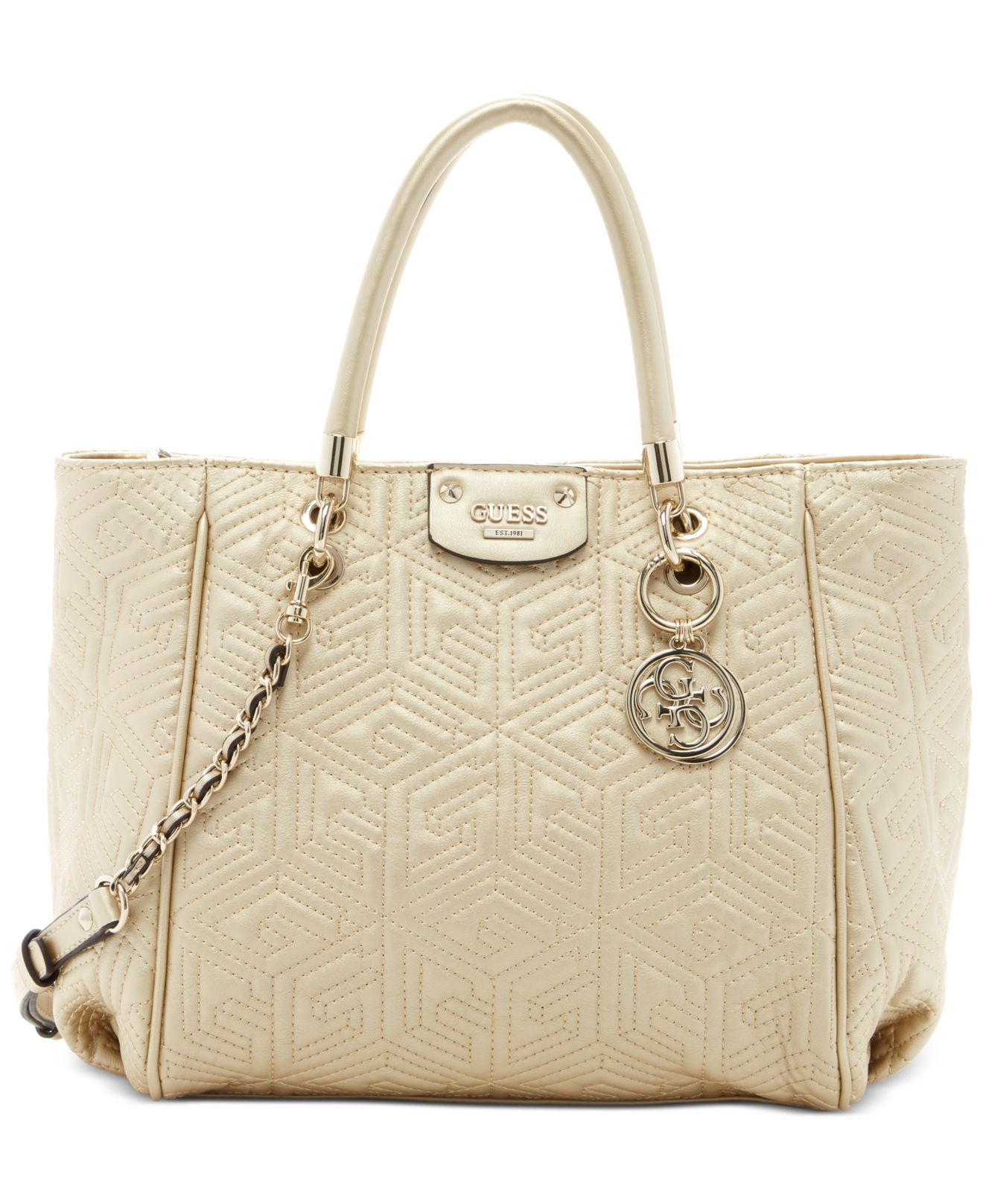 86d0522d1c50 Lyst - Guess G Cube Abbey Quilted Convertible Shopper in Metallic