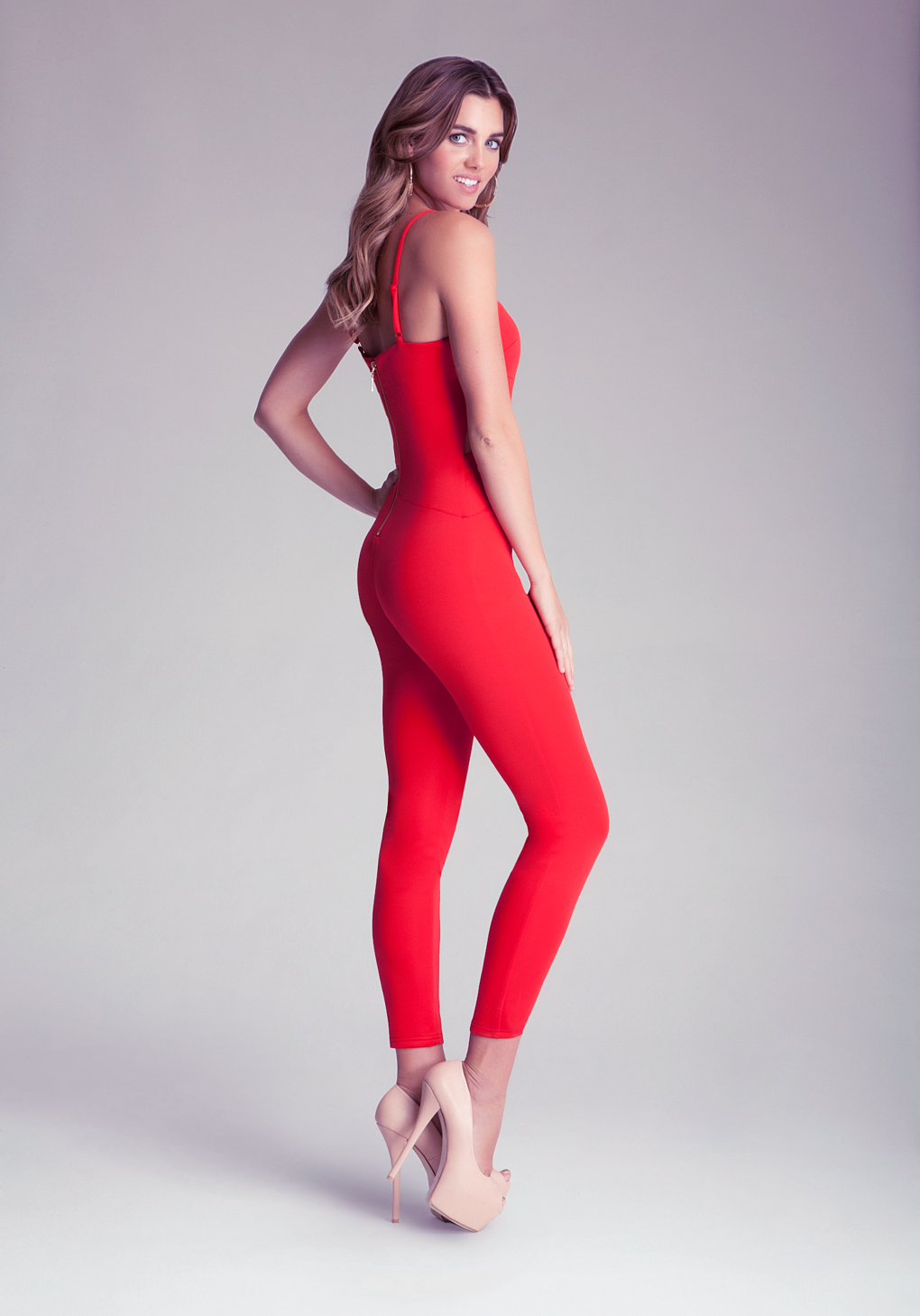 Bebe Cutout Cat Suit In Red Lyst