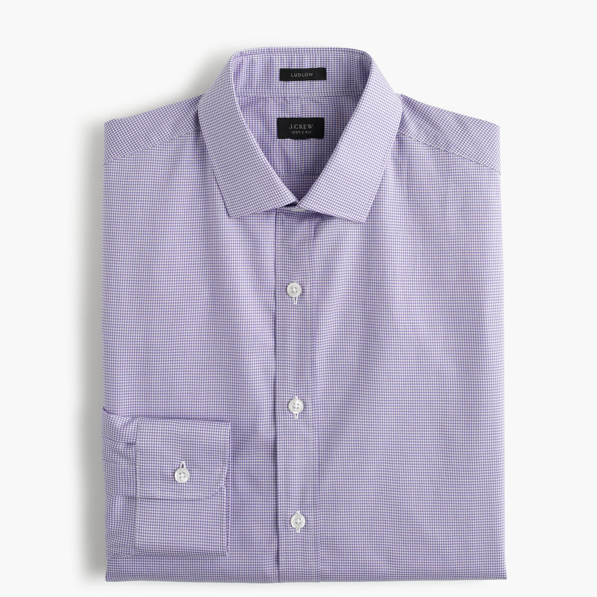 Ludlow shirt in purple gingham in purple for men lyst for Men s purple gingham shirt