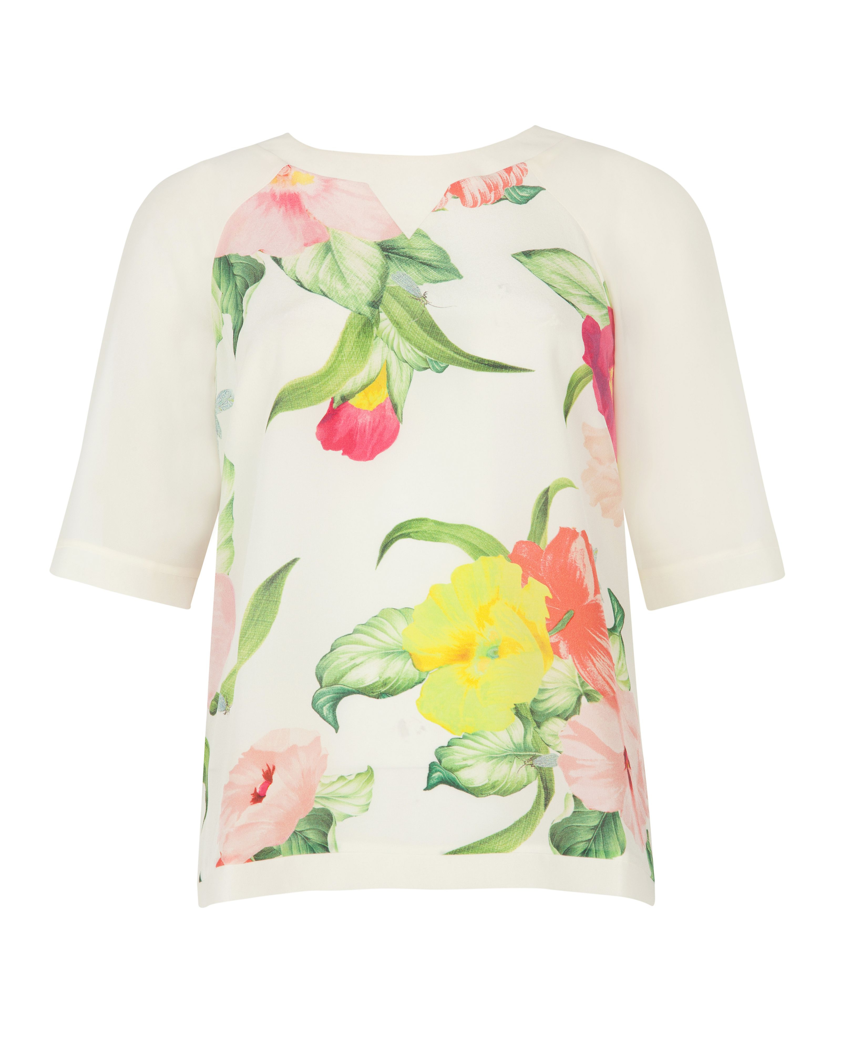 Ted baker Roenina Floral Printed Top in Natural