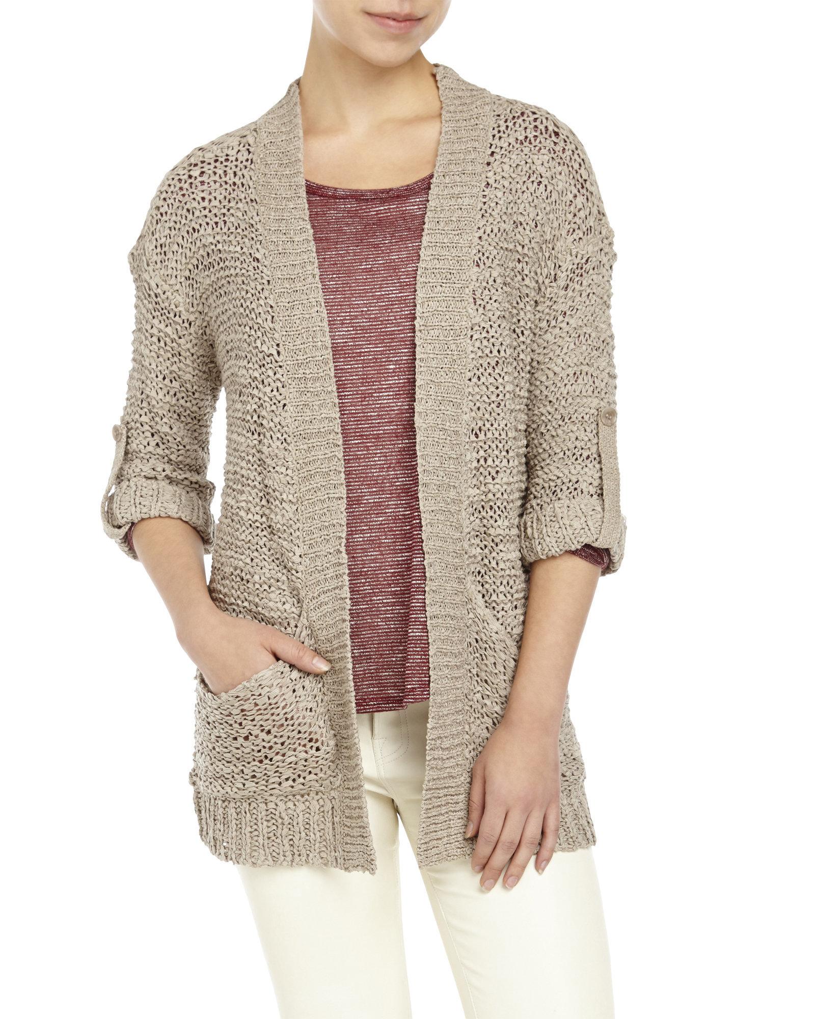 Knitting Pattern Open Front Cardigan : Coupe collection Open Front Tab Sleeve Knit Cardigan in Brown (Mocha) - Save ...