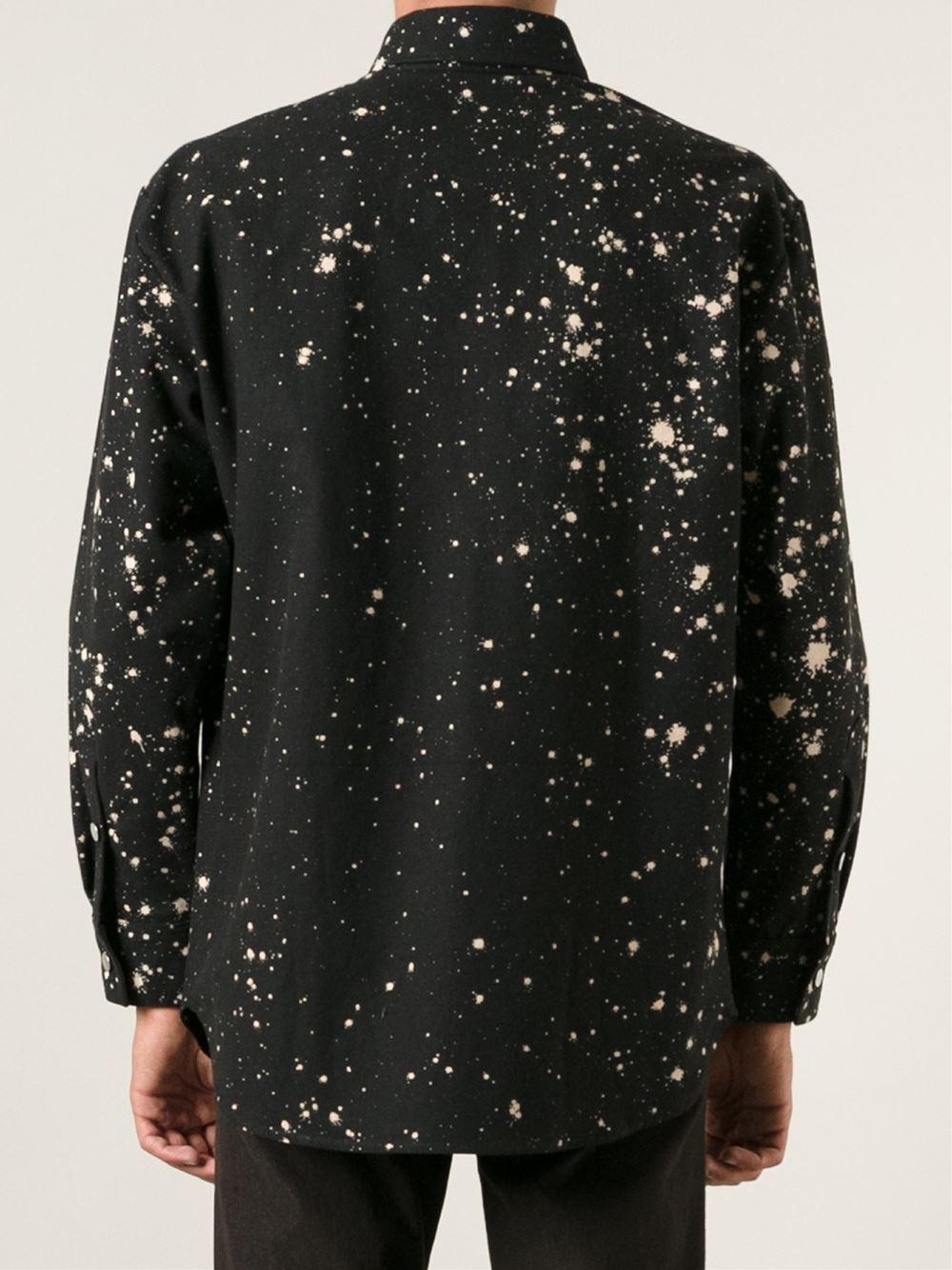 Lyst Raf Simons Paint Splatter Shirt In Black For Men