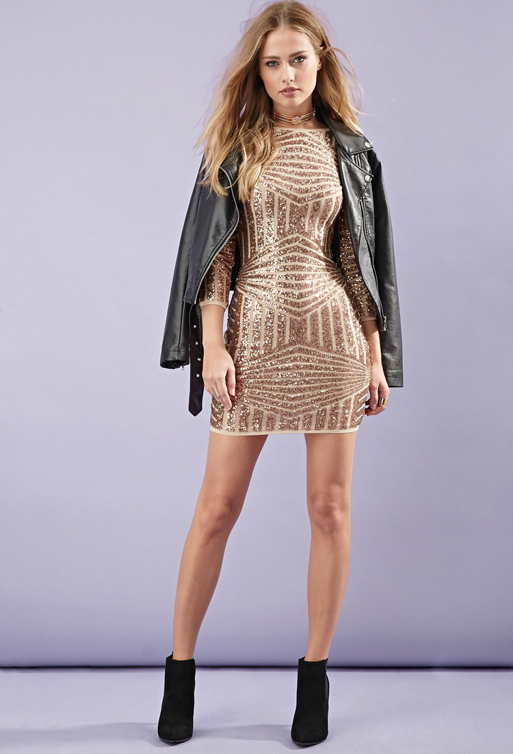464d3f2e679 Forever 21 Sequined Abstract-patterned Dress in Metallic - Lyst