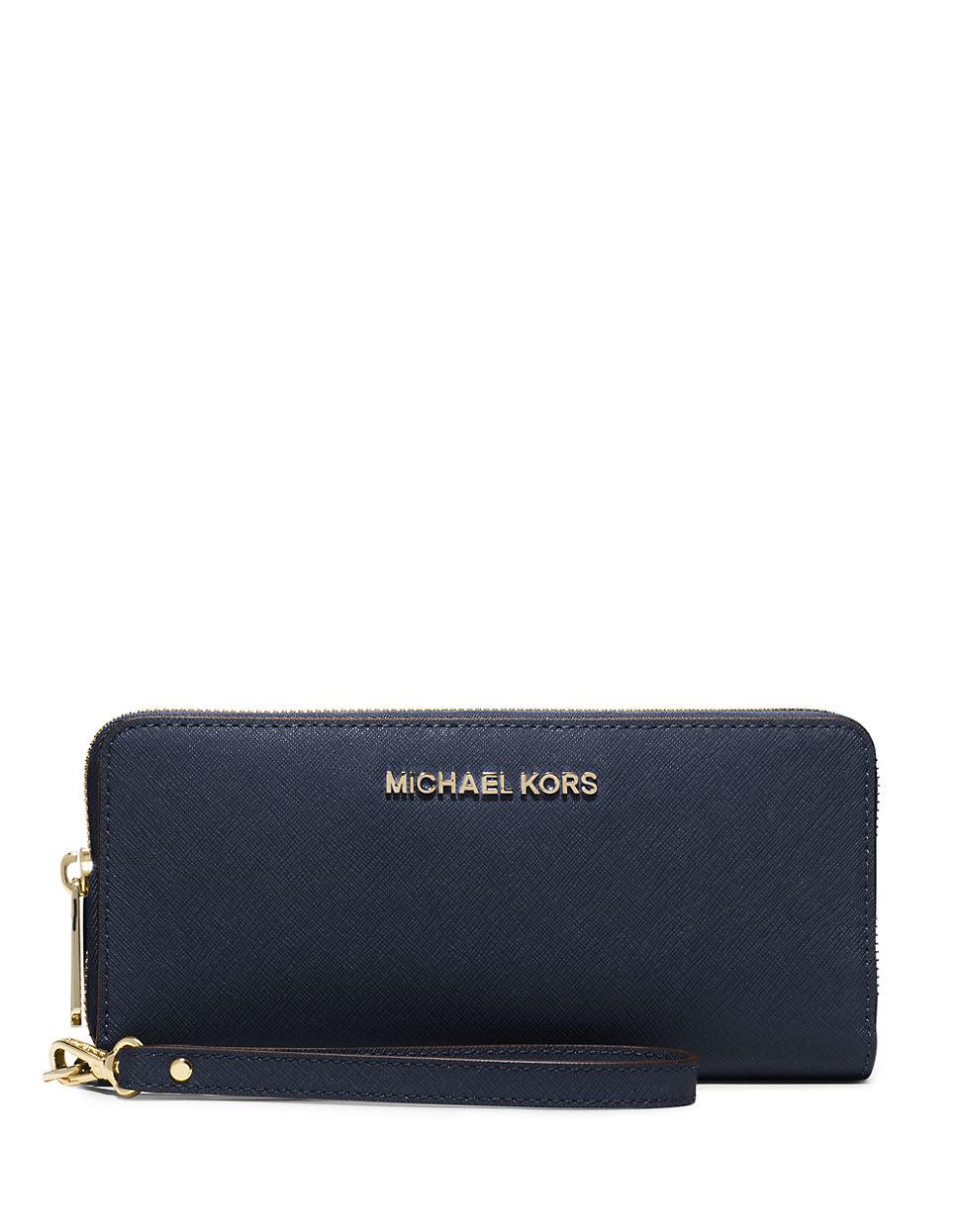michael michael kors jet set leather travel wristlet in blue lyst. Black Bedroom Furniture Sets. Home Design Ideas