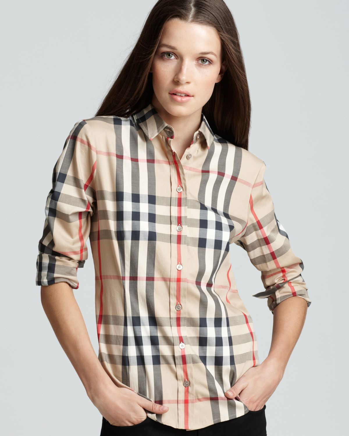 Lyst burberry woven exploded check shirt in natural for Burberry shirt size chart